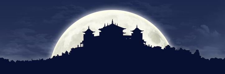 tibetan monastery at full moon