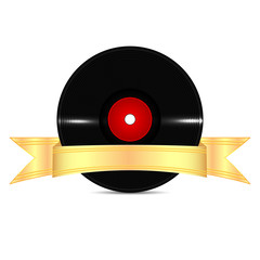 Musical vinyl record with a gold ribbon isolated on white backgr
