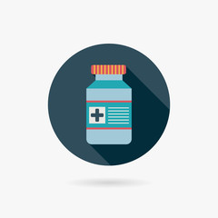Medical Bottle Flat style Icon with long shadows