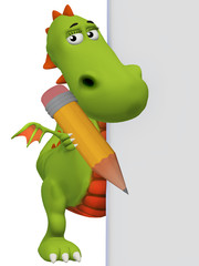 3d dragon holding a pencil