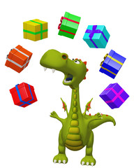 Dragon cartoon with presents