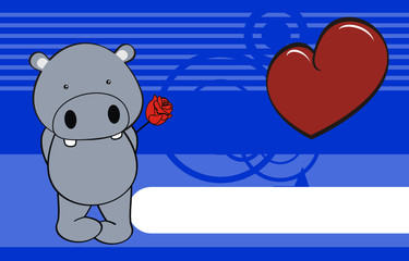 hippo baby cute cartoon love rose background