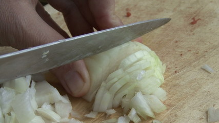 onion and kitchen knife