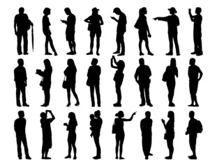big set of asian people standing silhouettes