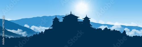 Foto op Aluminium Nepal tibetan monastery in himalayas landscape