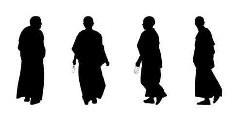 buddhist monks silhouettes set 2