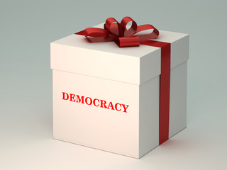present  box with  democracy title