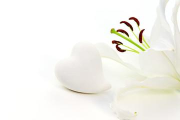 Weiße Lilie mit Herz