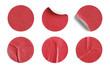 Leinwanddruck Bild - Red Round Stickers