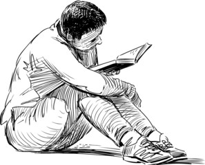 sketch of reading woman