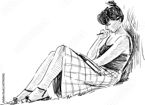 sketch of reading girl - 67963962