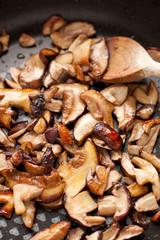 Funghi porcini affettati rosolati in padella