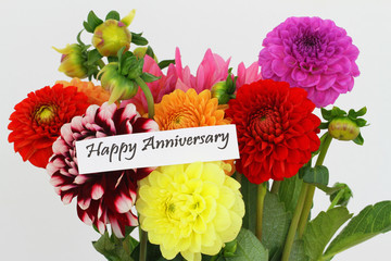 Happy Anniversary card with colorful dahlia flowers