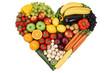 canvas print picture - Obst und Gemüse als Herz Thema Liebe und gesunde Ernährung