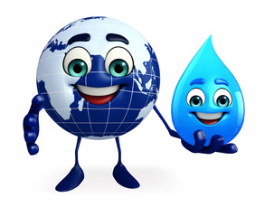 Earth Character with water drop