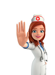 Nurse Character with stop sign