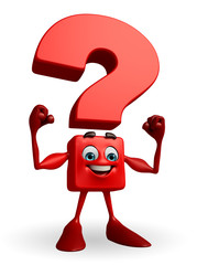 Question Mark character with bodybuilding