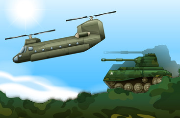 A military tank and a helicopter