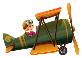 A young man riding on a vintage plane