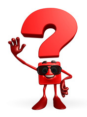 Question Mark character with hello