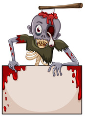 A zombie with an empty signboard