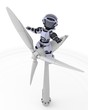 Robot with wind turbine