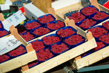 Raspberries in boxes