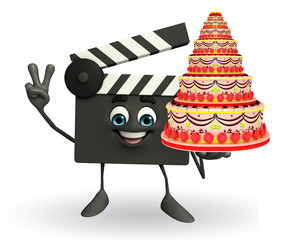 Clapper Board Character with cake
