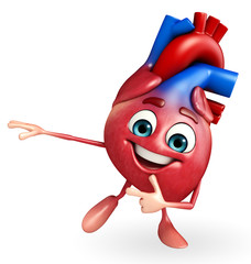 Heart character with pointing pose