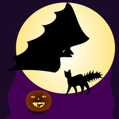 Halloween illustration with cats, bats, full moon and pumpkin
