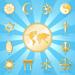 World of Faith map with international religions, blue background