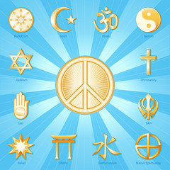 Peace Symbol surrounded by world religions, blue ray background