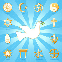 World Religions surround Dove of Peace, aqua blue ray background