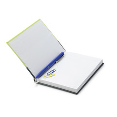 Open notebook with pen and paper clips