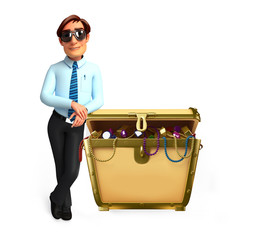 Young Service Man with treasure box