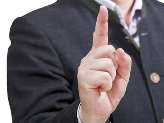 businessman pointing by forefinger - hand gesture