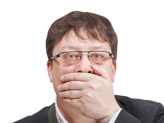 front view of businessman's hand closing mouth
