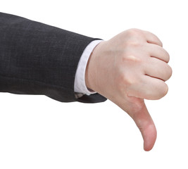 side view of thumbs down sign - hand gesture