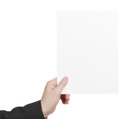 blank sheet of paper in male hand