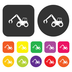 Excavation icon. Engineering symbol. Round and rectangle colourf