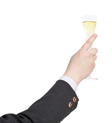 raising of champagne glass in businessman hand