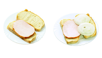 Two sandwiches on ceramic plates