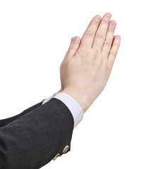 businessman prays - hand gesture