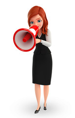 Young Business Woman with loudspeaker