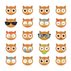 Owl smiling face icons set. Illustration eps10