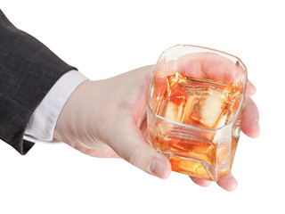 above view of whisky glass in businessman hand