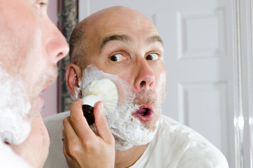 Preparing to shave