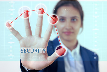Woman hand touch security