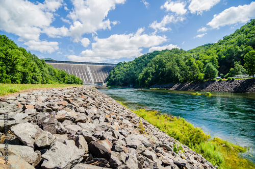 views of man made dam at lake fontana great smoky mountains nc - 67970383