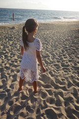 Young girl at the beach in Greece